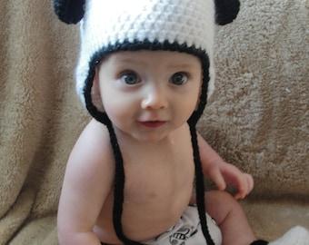 Crochet Baby Panda Bear Hat with Ear Flaps