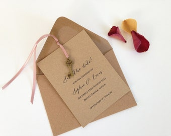 Save The Date Cards, Wedding Save The Dates, Rustic Save The Date Card, Kraft Save The Day, Key Save The Date