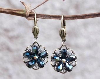 Flower Earrings, Beach Earrings, Leverback Earrings, Boho Earrings, Ocean Earrings, Beach Jewelry, Ocean Jewelry, Delicate Earrings E1302