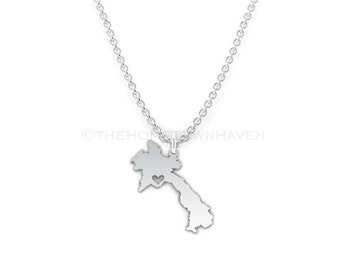 Laos Necklace - Laos map necklace, Laos charm necklace, I heart Laos necklace