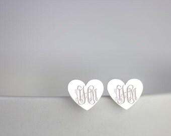 Heart Monogram Earrings - Sterling silver Initial studs, monogram jewelry, personalized monogram