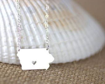 I heart Iowa Necklace - I Love Iowa, Des Moines IA, Hometown Necklace, Sterling Silver Iowa Necklace