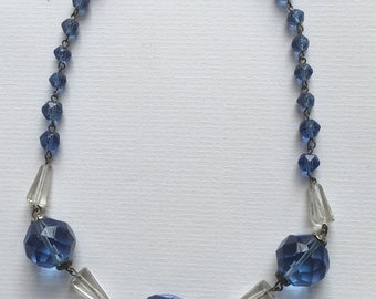 Vintage Art Deco Aqua Blue Glass Stone Beads Choker Necklace 1930s Costume Jewelry