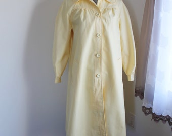 70s Yellow All Weather Coat by Sears, Button Front Lined Spring Coat, Size 12  New Unused Vintage