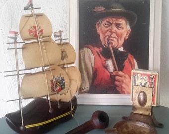 Collectible Briar pipe smoker, set, man cave, brass ashtray, clog lamp, ashtray lucifer holder, souvenir/gift kitsch Holland, 60s, Christmas gift