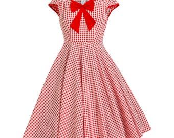 Red Gingham Dress Checkered Dress Summer Dress 50s Party Dress Picnic Dress Retro Dress Pin Up Dress Rockabilly Dress Vintage Style Dress