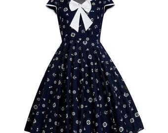 Nautical Dress Summer Dress Sailor Dress Anchor Navy Dress Pin Up Dress Rockabilly Dress 50s Retro Dress Vintage Style Dress Plus Size Dress