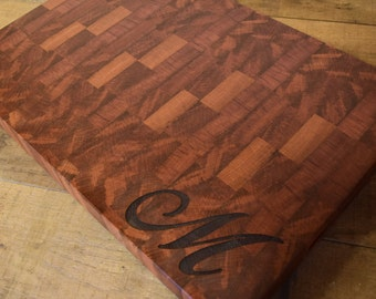 End Grain Butcher Block Cutting Board Sapele Engraved Family Name, Anniversary Gift, Wedding Gift, Appreciation Gift