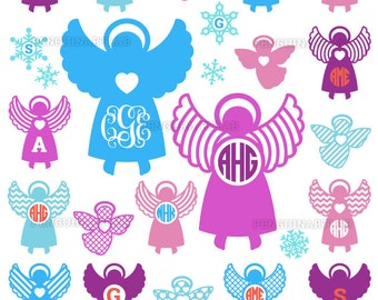 Christmas Angels SVG Monogram Files - Christmas Holidays Cut Files for Vinyl Cutting Machines, Cricut, Silhouette, Dxf, Eps, Png