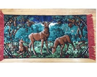 Vintage Deer Tapestry Wall Hanging / Vintage Small Deer Rug / Vintage Deer Tapestry Wall Art / Vintage Deer Tapestry Rug / Outdoor Art