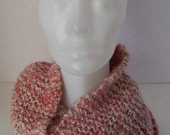 Rose pink  soft infinity  scarf / cowl -handknit