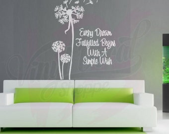 Dandelion Inspirational Quote, Large Wall Decal, Wall Decal, Dandelion Decal,  Dandelion Wall Part 29
