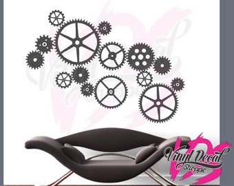 steampunk gears wall decal steampunk decor retro wall decal large wall decal