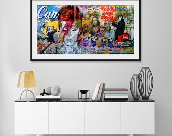 Ziggy Stardust Mural by Mr Brainwash Art Print