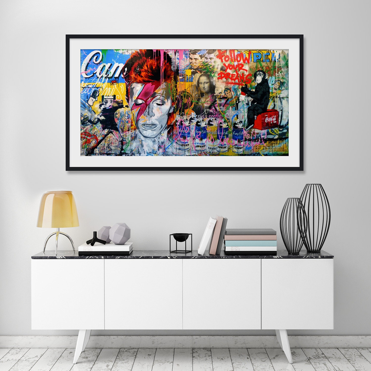 Ziggy stardust mural by mr brainwash art print for Mural mr brainwash