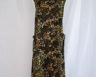 Vintage 1960's 'Lizard Queen' Floral Print Square Neck Sleeveless Mod Shift Dress Size M / L