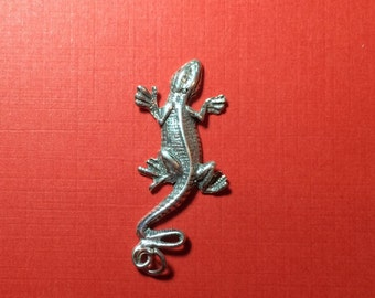 Sterling Silver Large Gecko Charm