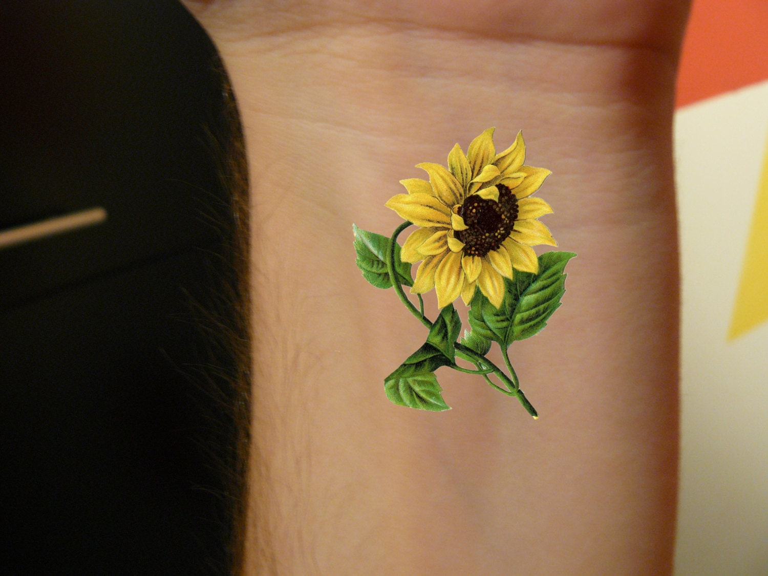 2 sunflower temporary tattoo vintage sunflower floral art for Sunflower temporary tattoo