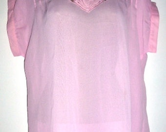 80's Pink Lace front polyester short sleeved blouse - size 12 UK