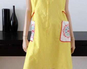 Robe blouse vintage jaune mod/yéyé taille 44/46 - uk 16/18 - us 12-14
