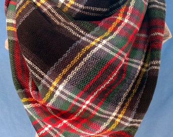 Womens Black, Red, Green & Blue Plaid Blanket Scarf -Free Shipping! Fringe Scarf. Women Fashion Accessories. Gift Ideas For Her.Holiday Gift