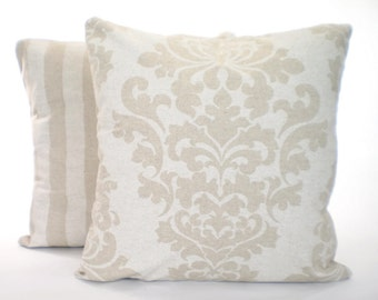 Tan White Pillow Covers, Decorative Throw Pillow, Cushions, Off White on Linen Look Tone on Tone Shabby Chic Combo Set Various Sizes