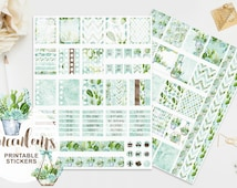 Succulents Stickers, Watercolor Floral, Printable Planner, Cactus, Tropical, Mint, Green, Blue, Pastel, Handpainted, Planner, Print Cut