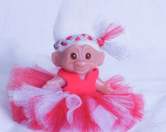 Tulle tutu for Trolls and hair piece. Custom hand made troll clothes and head bows
