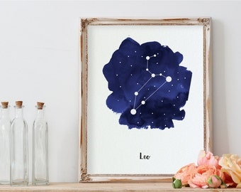 Leo Constellation Poster, Zodiac Art Print, Leo Nursery Wall Decor, Zodiac Printable Decor, Leo Gift