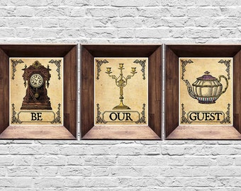 Be Our Guest - Set of Three Prints - Beauty and the Beast Prints - Vintage Style Disney Posters - 8x10, 5x7 (inches)