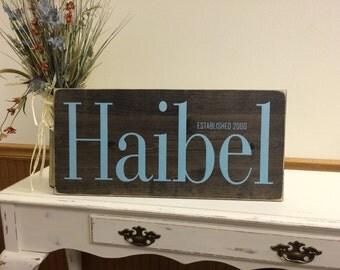 Wedding Date Sign, Wedding Gift Last Name Established, Rustic Family Established Sign, Personalized Family Established Sign - Wood
