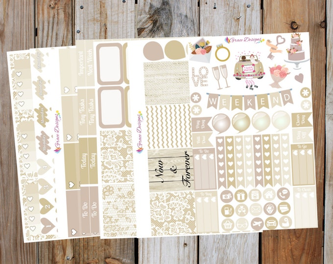 Bridal Champagne Planner Stickers Kit (7 pages) | for use with ERIN CONDREN Life Planner