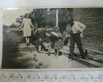 Vintage photography.Vintage game.Rare photo.Funny vintage game. Vintage women playing.1930s fashion.Ephemera.Black and white.Vintage game.