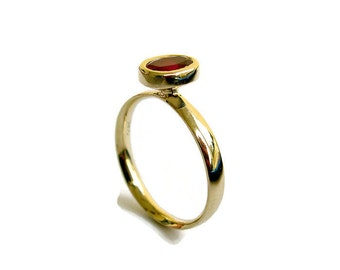 ruby engagement ring oval cut engagement ring 14k yellow gold ring bezel - Ruby Wedding Ring