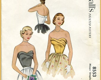 50s 1950s vintage strapless evening bodice bust 30 b30 repro English & French