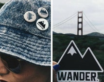 Traveler Kit and Co Sticker and Button Pack Wander Adventure Travel Decal Pin Car Laptop Road trip Combo Explore