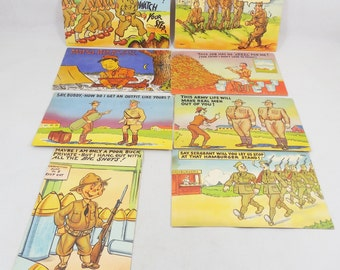 WWII Cartoon Postcards, 8 Used Linen Finish Postcards, Army Theme