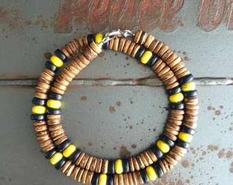 Men's necklace Coconut necklace   Beach necklace   Beaded necklace Gift ofr him  (#13)