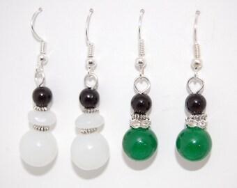 2 x PAIRS Earrings, White Jade Gemstone, Green Jade Gemstone Earrings, Beaded Earrings,Drop Earrings ,Dangle Earings ,Boho ,Gift For Her