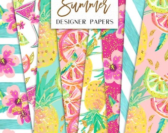 Summer Digital Papers | Tropical Pineapple Lemon Oranges Cocktail Flowers pattern designs | graphics planner stickers resources