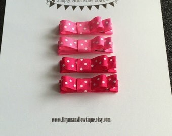 READY TO SHIP!! Pink and Red Polka Dot Tuxedo Bows, 4 Clippies, Baby and Toddler Clips