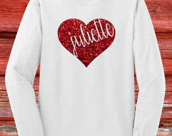 Adult Monogram Valentines Day Shirt Womens- Long Sleeve- Red Glitter Name in Heart, Personalized, Red and White Small, Medium, Large, XL