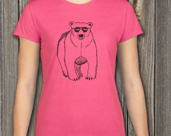 Bear Shirt, Womens shirt, Polar Bear Shirt, Animal Shirt, Grizzly Bear Shirt, Animal Print, Funny Tshirt, Ladies T-shirt, Crewneck Tee
