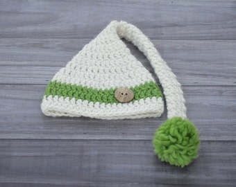 Crochet Elf Hat with Long Tail. Cream and Green. Toddler 12-24 months.