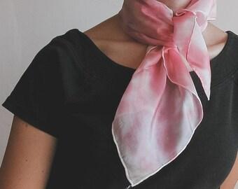 Hand painted silk neckerchief - pink fashion scarf