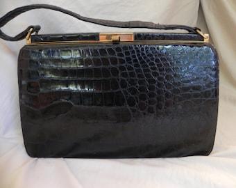 1960's Vintage Black Lizard Leather Handbag Purse by Bellisimo