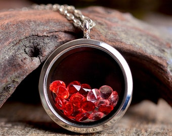 Root Chakra necklace, locket necklace, silver plated necklace, red necklace, birthstone necklace, root Chakra necklace, Chakra jewelry
