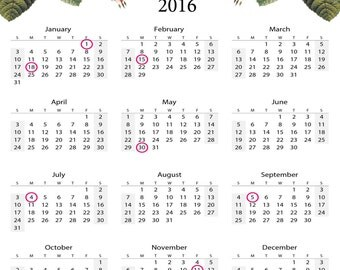 2016 Year at a Glance Calendar