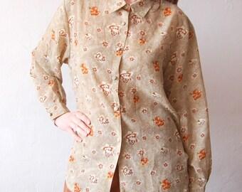 Vintage 80's 90's Plus Size Shirt Large XL Floral Print Brown Blouse 1980's 1990s Clothing Women Avant Garde Rose Flowy Oversized Button