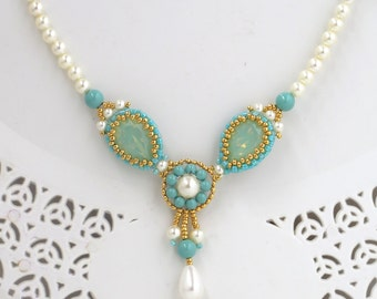 Unique necklaces for women, Turquoise crystal necklace, Turquoise bridal jewelry, Teardrop necklace, Pearl crystal necklace